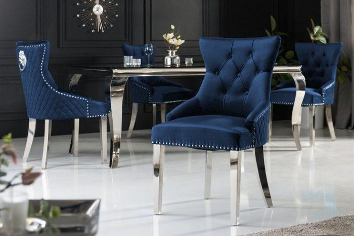 Eleganckie krzesło CASTLE styl Chesterfield granatowe aksamit