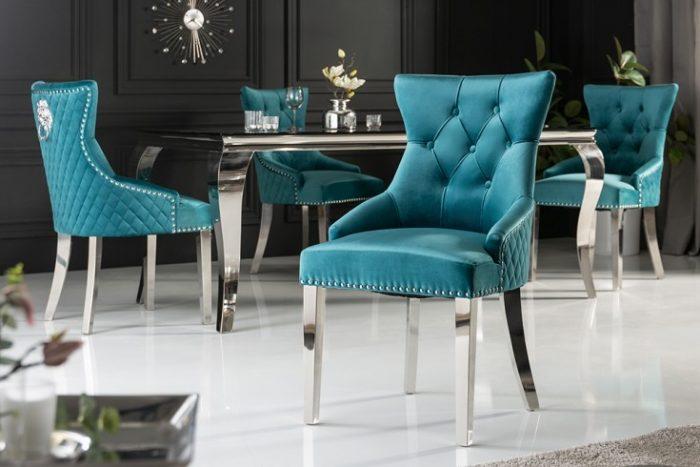 Eleganckie krzesło CASTLE styl Chesterfield turkusowe
