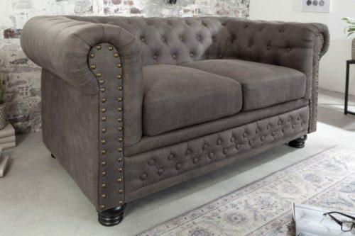 Sofa Chesterfield 2-osobowa 150 cm  szarość