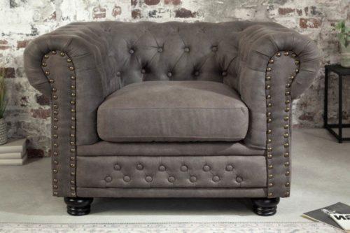 Klasyczny Fotel Chesterfield w kolorze szarym 105cm