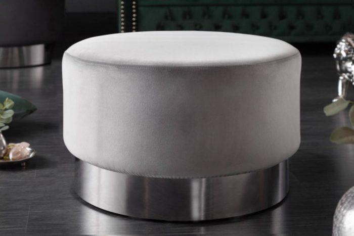 Elegancki stolik kawowy MODERN BAROQUE 55cm szary aksamit