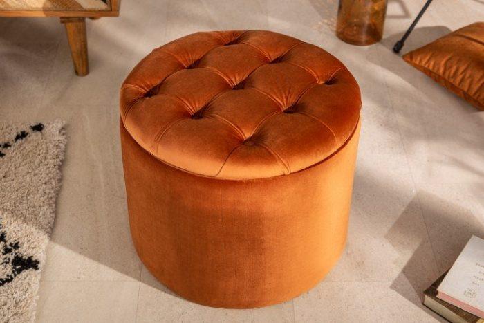 Elegancki taboret MODERN BAROQUE 50cm aksamit