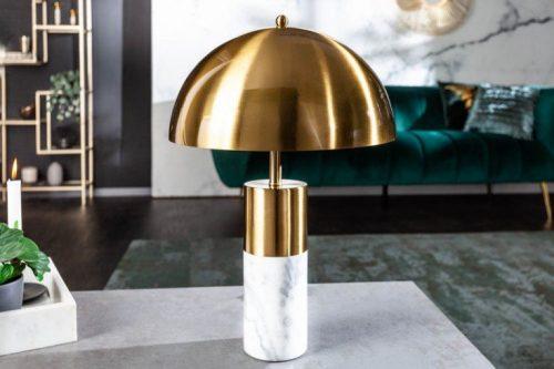 Elegancka lampa stołowa BURLESQUE 52cm złoto-biała