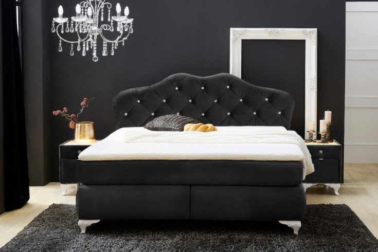 Eleganckie łóżko zmateracem sprężynowym VERSAILLES 180x200cm czarne