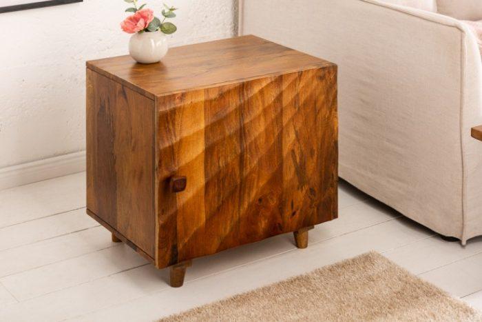 Solidny stolik nocny SCORPION 50cm drewno mango