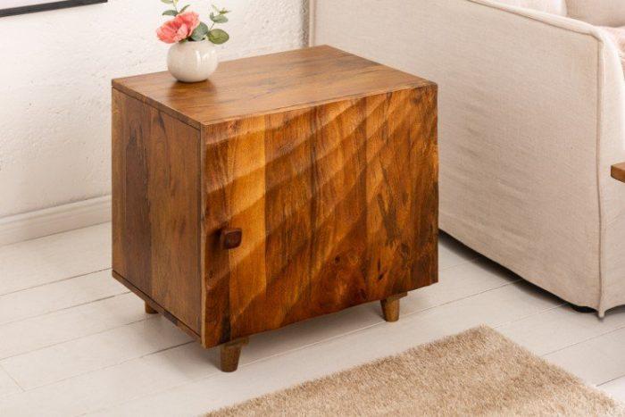 Solidny stolik nocny SCORPION 50cm brązowy drewno mango