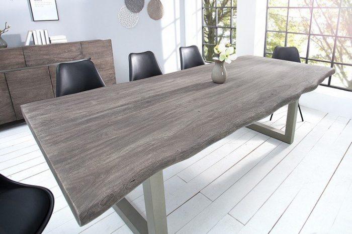 Stół do jadalni z litego pnia MAMMUT 220cm szary
