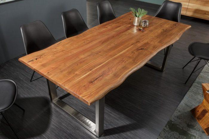 Stół do jadalni z litego pnia MAMMUT NATURE 160 cm akacja