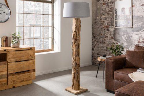 Lampa podłogowa ROOTS 170 cm szary klosz drewno tekowe