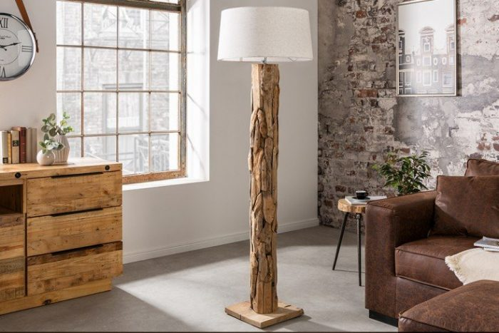 Lampa podłogowa ROOTS 170 cm naturalny klosz drewno tekowe