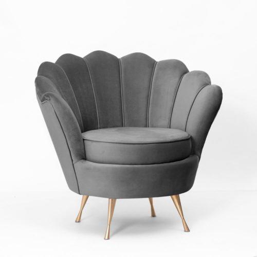 Fotel MUSZELKA szary złote nogi