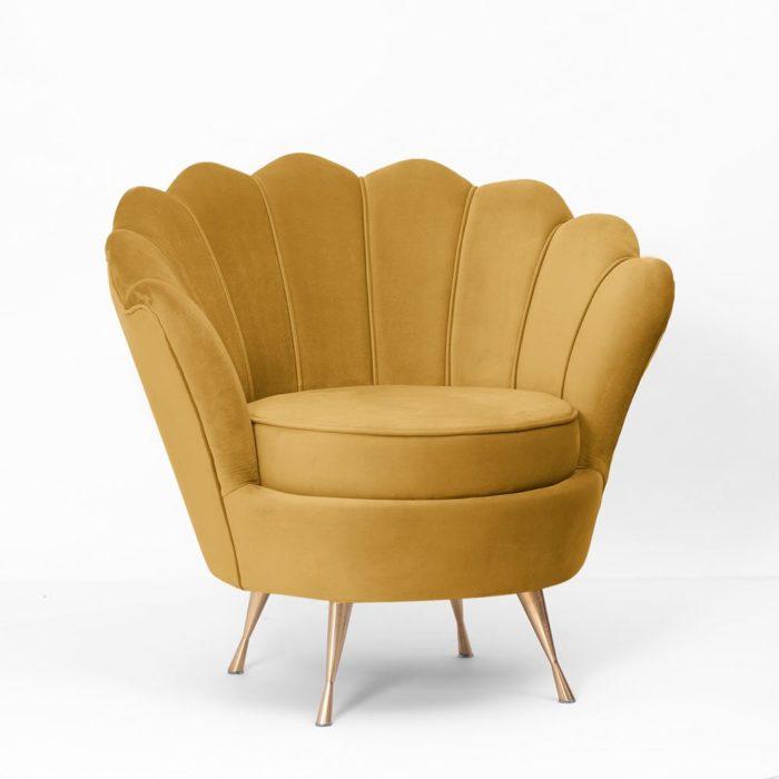 Fotel MUSZELKA miodowy złote nogi