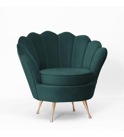 Fotel MUSZELKA szmaragdowy złote nogi
