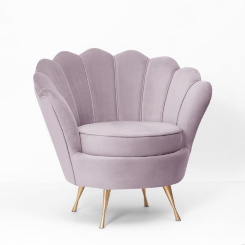 Fotel MUSZELKA wrzosowy złote nogi