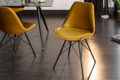 Krzesło SCANDINAVIA aksamit musztardowy