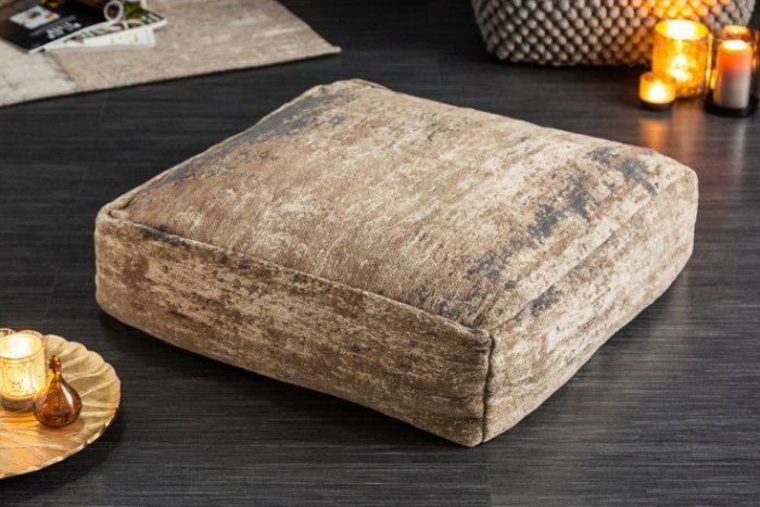Designerska poduszka podłogowa MODERN ART odcień brązu i beżu