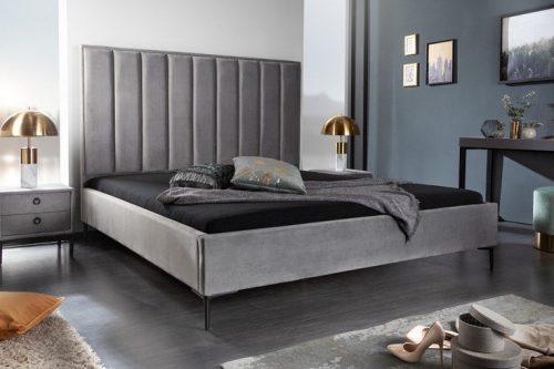 Eleganckie łóżko COSMOPOLITE 180x200cm srebrnoszare obicie