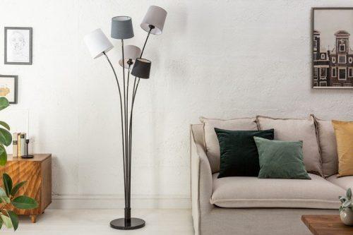 Lampa podłogowa LEVELS 176cm czarno-szara z 5 abażurami