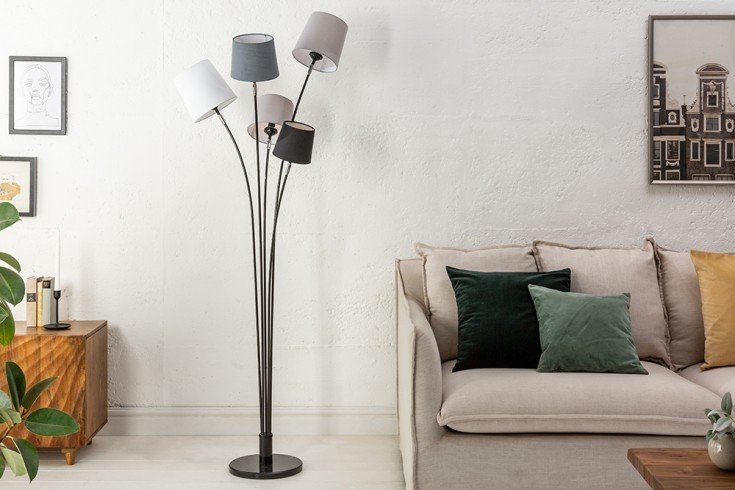 Lampa podłogowa LEVELS 176cm czarno-szara z5 abażurami