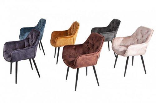 Nowoczesne krzesło MILANO odcień niebieskiego pikowania Chesterfield
