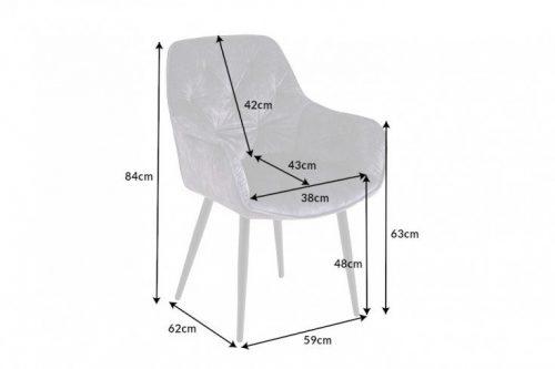 Nowoczesne krzesło MILANO odcień szarości aksamit pikowania Chesterfield