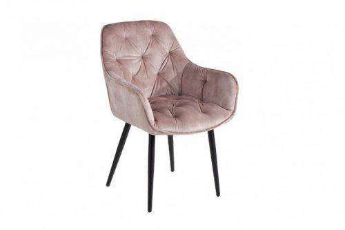 Nowoczesne krzesło MILANO szampański aksamit pikowania Chesterfield