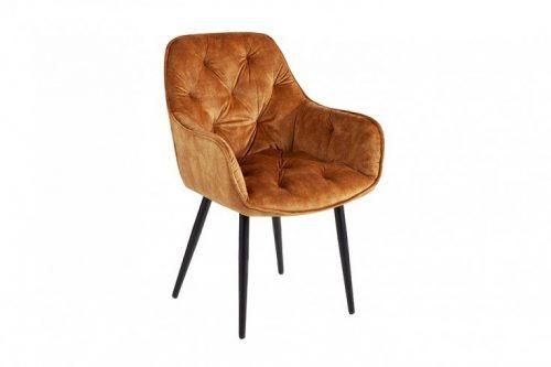 Nowoczesne krzesło MILANO odcień musztardowy pikowania Chesterfield