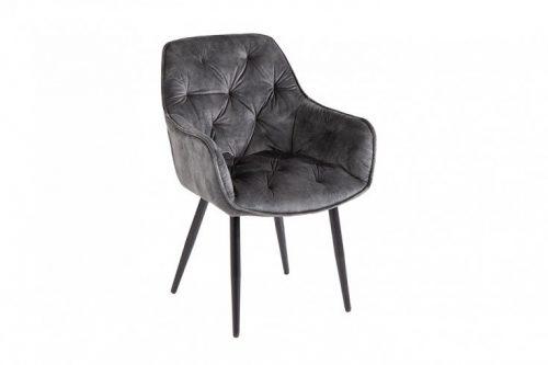 Nowoczesne krzesło MILANO szary aksamit pikowania Chesterfield