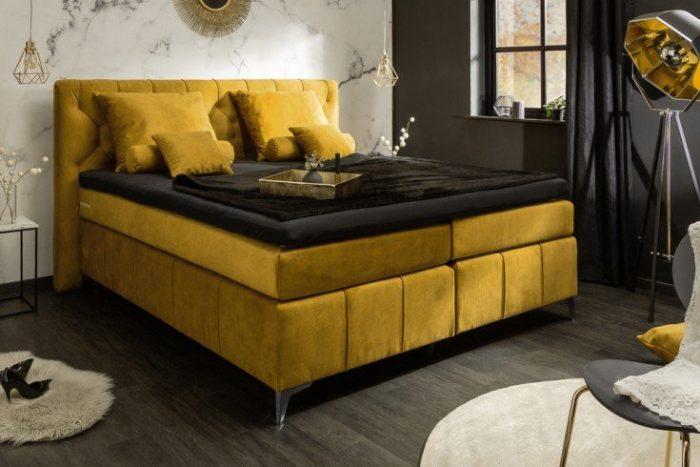 Eleganckie łóżko z materacem sprężynowym EUPHORIA 160x200cm musztardowo-żółte