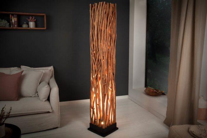 Ręcznie robiona lampa NATURE ART 173cm z litego drewna longan
