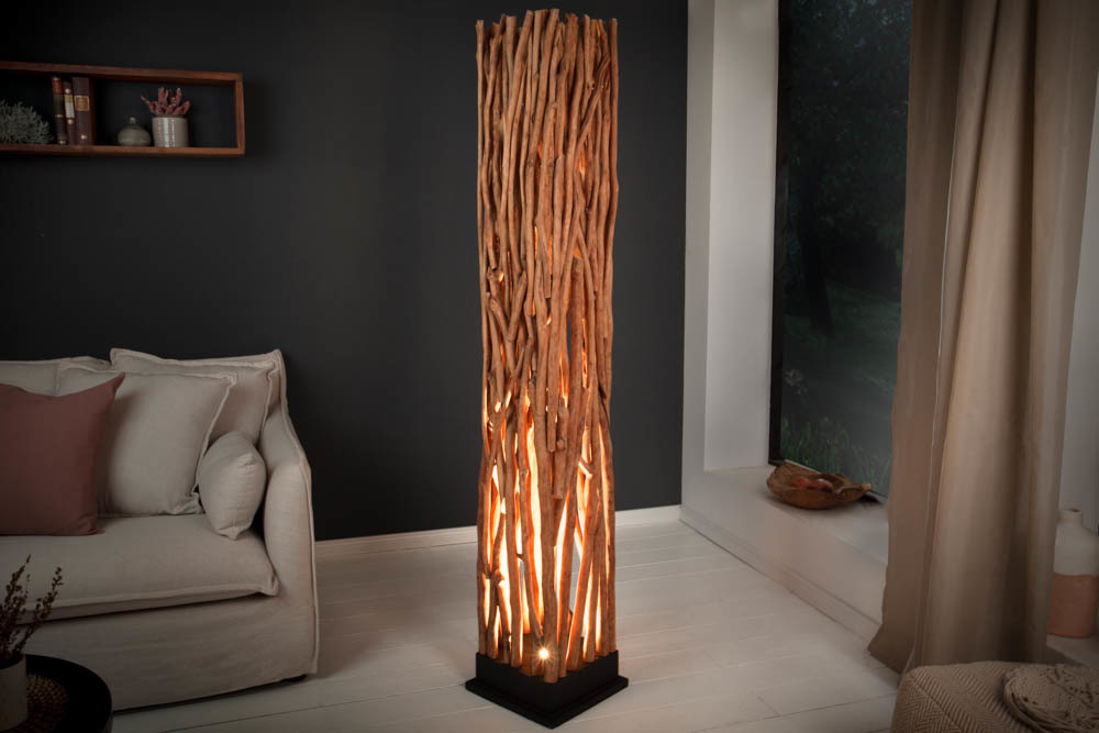 Ręcznie robiona lampa NATURE ART 173cm zlitego drewna longan