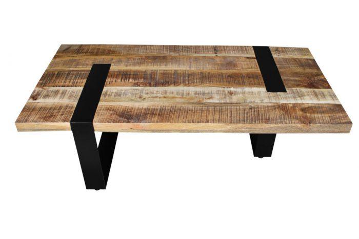 Industrialny stolik kawowy IRON CRAFT 120cm drewno mango