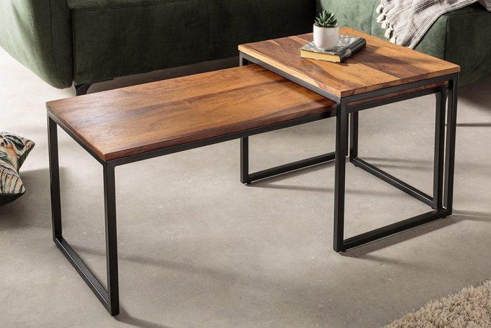 Zestaw 2 stolików kawowych ELEMENTS 100 cm drewno Sheesham