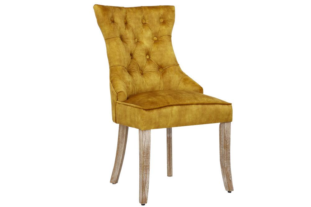 Eleganckie krzesło CASTLE wkolorze musztardowym