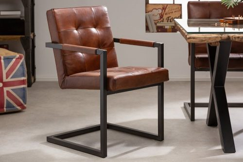 Krzesło GRAND BUFFALO płozy skóra naturalna