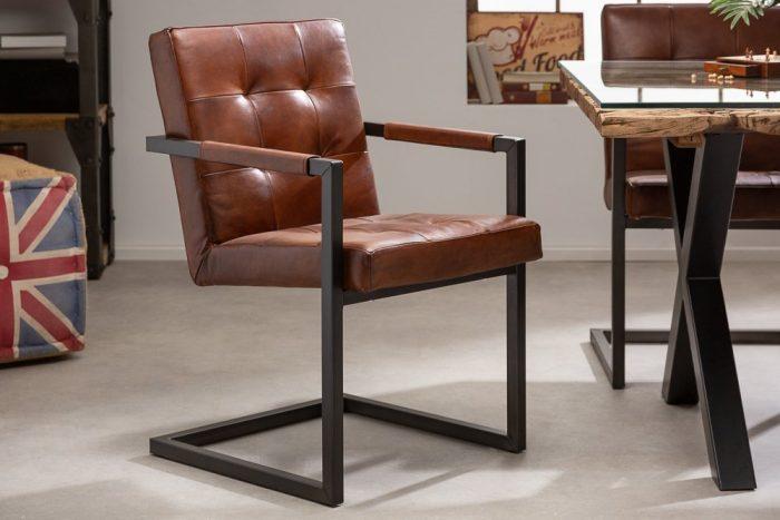 Krzesło na płozie z prawdziwej skóry GRAND BUFFALO
