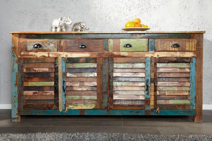 Kredens JAKARTA 160cm kolorowe lite drewno z recyklingu