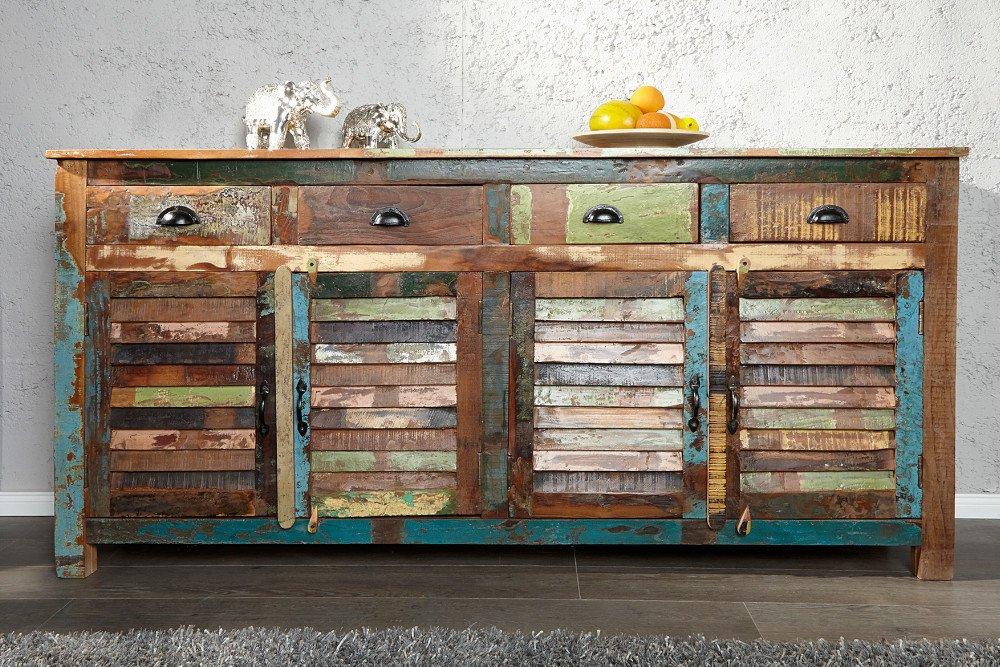 Kredens JAKARTA 160cm kolorowe lite drewno zrecyklingu