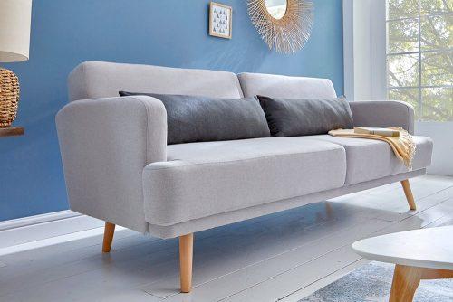 Elegancka sofa 3-osobowa STUDIO 210cm jasnoszara z funkcją spania