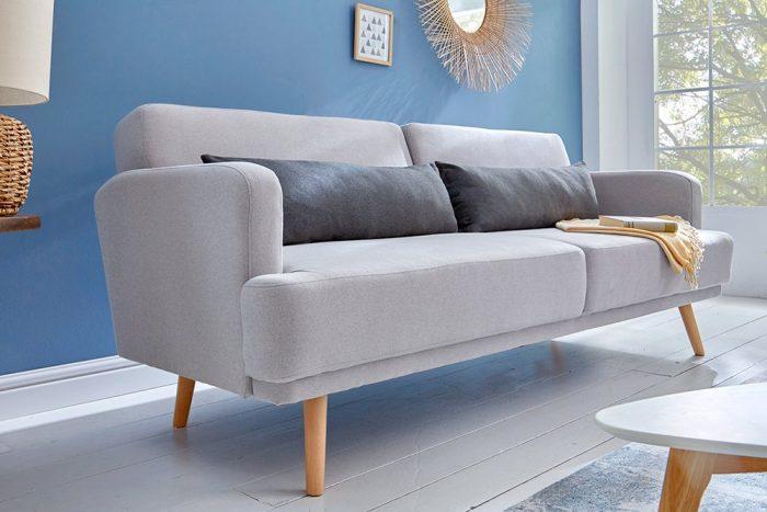 Sofa 3-osobowa STUDIO 210cm jasnoszara z funkcją spania
