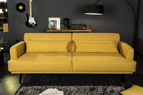Elegancka sofa 3-osobowa STUDIO 210cm musztardowa z funkcją spania