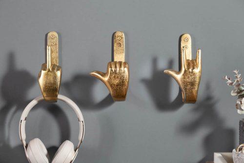 Zestaw 3 złotych ekstrawaganckich wieszaków FINGERS
