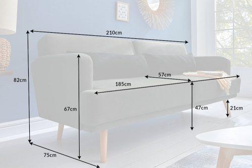 Elegancka sofa 3-osobowa STUDIO 210cm ciemnoszara z funkcją spania