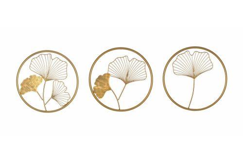 Zestaw dekoracji ściennych 3 GINKGO 40cm złote
