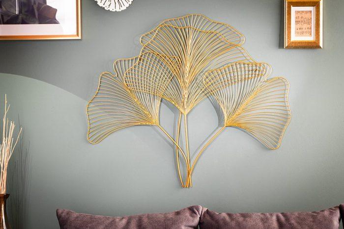 Dekoracja ścienna GINKGO 90cm złota w kształcie liści