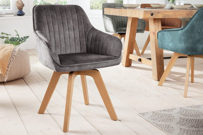 Krzesło obrotowe LIVORNO szare aksamitne