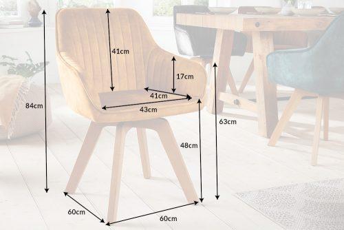 Krzesło obrotowe LIVORNO musztardowe aksamitne