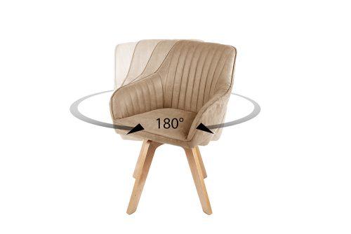Krzesło obrotowe LIVORNO szampańskie aksamitne