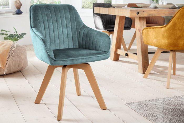 Krzesło obrotowe LIVORNO aksamitne petrol 41312