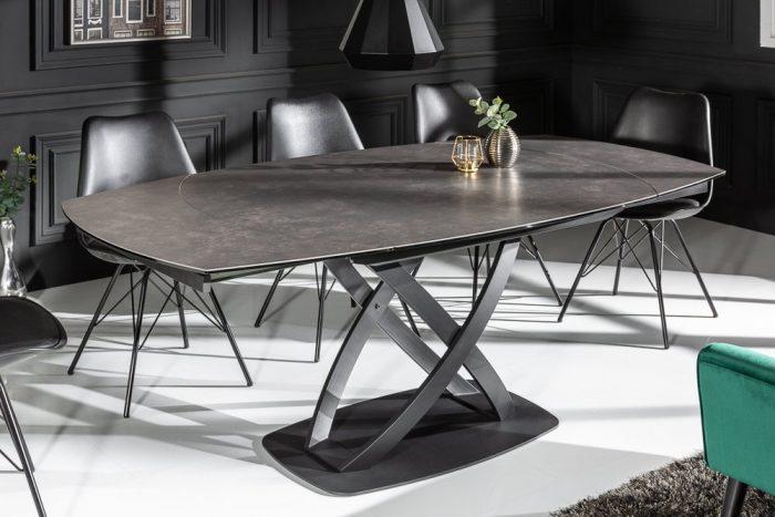 Stół rozkładany INCEPTION 130-190 cm antracyt ceramiczny obrotowy